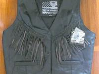 Women's Leather Vest with Fringe - New with tags Snap
