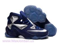 Online sale nice lebron xiii dark blue silver color