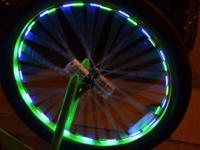 LED safety wheel lights that string from every other