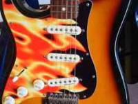 Very Nice Left Handed Mexican Stratocaster with flame