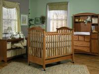 We have a high end convertible crib by heritage. This