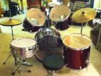 For sale 5pc drum set. Color is maroon. High hat,