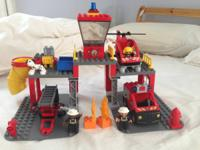 Lego Ville Duplo Fire Station and Fire Chief. Consists