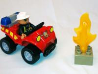 Lego Duplo Fire Truck #4977 and Fire Chief # 5603 Great