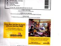 $40- Legoland California E-ticket. I have one adult and