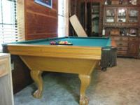 Leisrue Bay Pool Table, Slate top, leather drop
