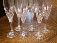 Lenox Debut Platinum crystal stemware 6 water glasses;