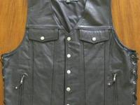 Men's Levi Cut Buffalo Leather Vest with Side-lace and