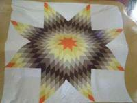 "Vintage handmade lone star quilt. 85"" x 85"". Perfect"