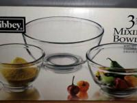 Libbey - 3 Mixing Bowls - New in Box. Offering for