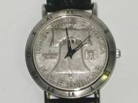 Liberty Bell Half Dollar Mens Strap Coin Watch,