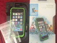 Brand new green and black lifeproof case for Iphone,