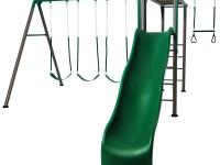 The Monkey Bar Adventure Swing Set is constructed of