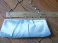 Light Blue Clutch with chain ~ Measurements: Top: 8