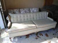 VERY nice, Light green sofa with wooden trim in GREAT
