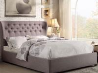 Queen Fabric light grey tuft Bed without Mattress Set.