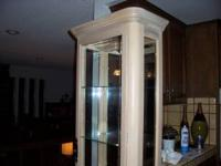 "Whitewashed Oak Lighted Curio Cabinet. 76"" high, 22"""