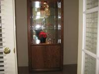 Lighted oak and glass display curio case. Perfect