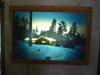 "I am offering my vintage 50's back lit ""cabin in the"