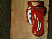 Hand painted slate of Lightening McQueen! Personalized