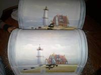Hand painted wooden Lighthouse chests. Set of two.