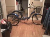 Like new 26 inch Schwinn 3 wheel bike with rear basket
