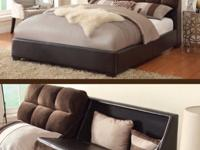 Queen size bed frame with storage, sectional sofa with