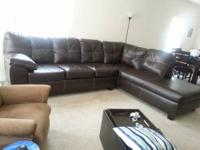Very nice chocolate leather sectional couch bought from