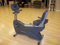 This is a commercial lifefitness recumbent bike. It