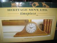 Like new nice battery operated Wood Mantle Clock -
