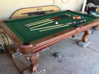 Sportscraft pool table no scratches! Leather pockets.