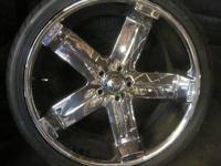 LIMITED 23 INCH TRUCK 5 LUGS CHROME RIMS & TIRES -