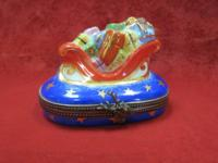 Sweet Little Santa's Sleigh Trinket Box with a Darling