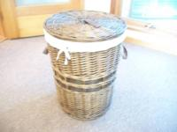 lined wicker basket with lid great for clothes or