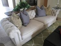 Gorgeous off white linen mix Chesterfield couch and