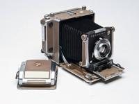 LINHOF SUPER TECHNIKA 4 X 5 CAMERA WITH THREE LENSES,.