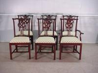 Set of 6 Solid mahogany Chippendale design chairs made