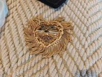 Costume Gold Lions head broach or slide.  Very