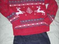 Size 6 Red deer sweater with dark gray corduroy