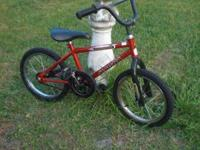 "Boys 16"" Bike. One pedal just has the post. Rides well."