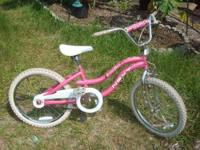 "Very pretty Bike all in Pink and White 20"" wheels,"