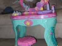 LITTLE MERMAID VANITY TABLE. MIRROR HAS GLUED AREA ON