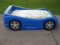 Blue Little Tikes Toddler Car bed with mattress. Like