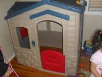 Little Tikes Blue and Gray cottage playhouse, a