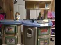 Like new little tikes kitchen. Speaks in english,