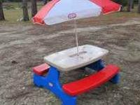 THIS IS A REALLY NICE SIZE PICNIC TABLE WITH UMBRELLA