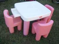 Little Tikes Pink and White table and chairs. This has