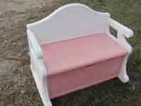 THIS IS A NICE LITTLE TIKES PINK BENCH TOY BOX. CALL .