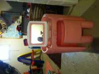 Classic Little Tikes vanity, pink & white, with pink