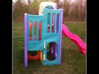This is a large play set for children, it has 1 slide,